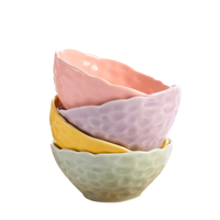 Wavy Rim Embossed Design Cheap Ceramic Bowl for Soup /cereal