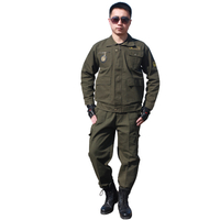 Cotton Army Green Long Sleeve Workwear Suit