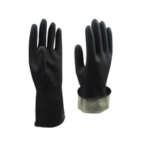 Black Acid And Alkali Resistant Latex Chemical Protective Gloves