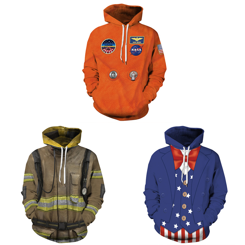 Firefighter Digital Printing Autumn And Winter Pullover Large Size Long Sleeve Sweater