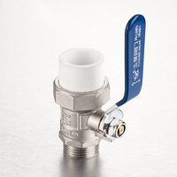 All copper brass medium-sized PPR single union external wire ball valve